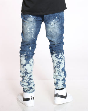 Men's Moto & Paint Splatter Jean - Ripping Dark