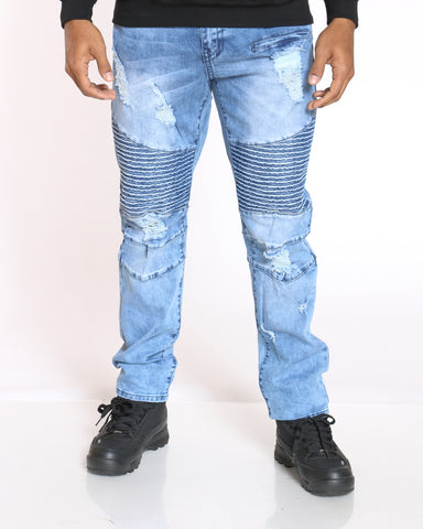 Men's Mitch Moto & Ripped Jean - Light Blue