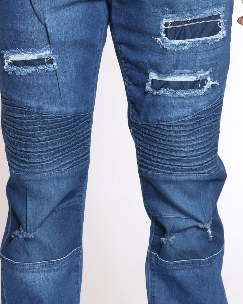 Mack Moto Knee Slit Ripped Jean - Medium Blue