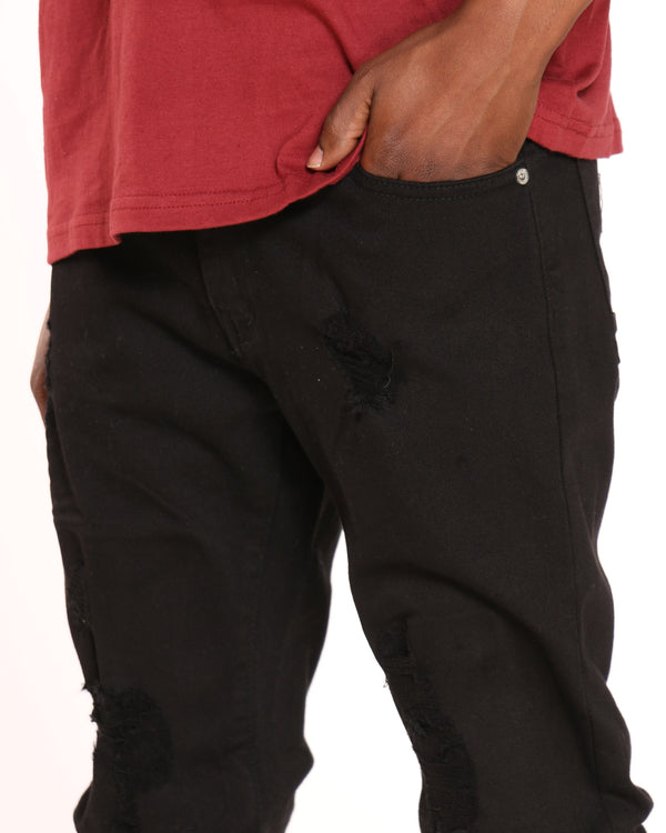 Men's Richard Ripped Knee Jean - Black
