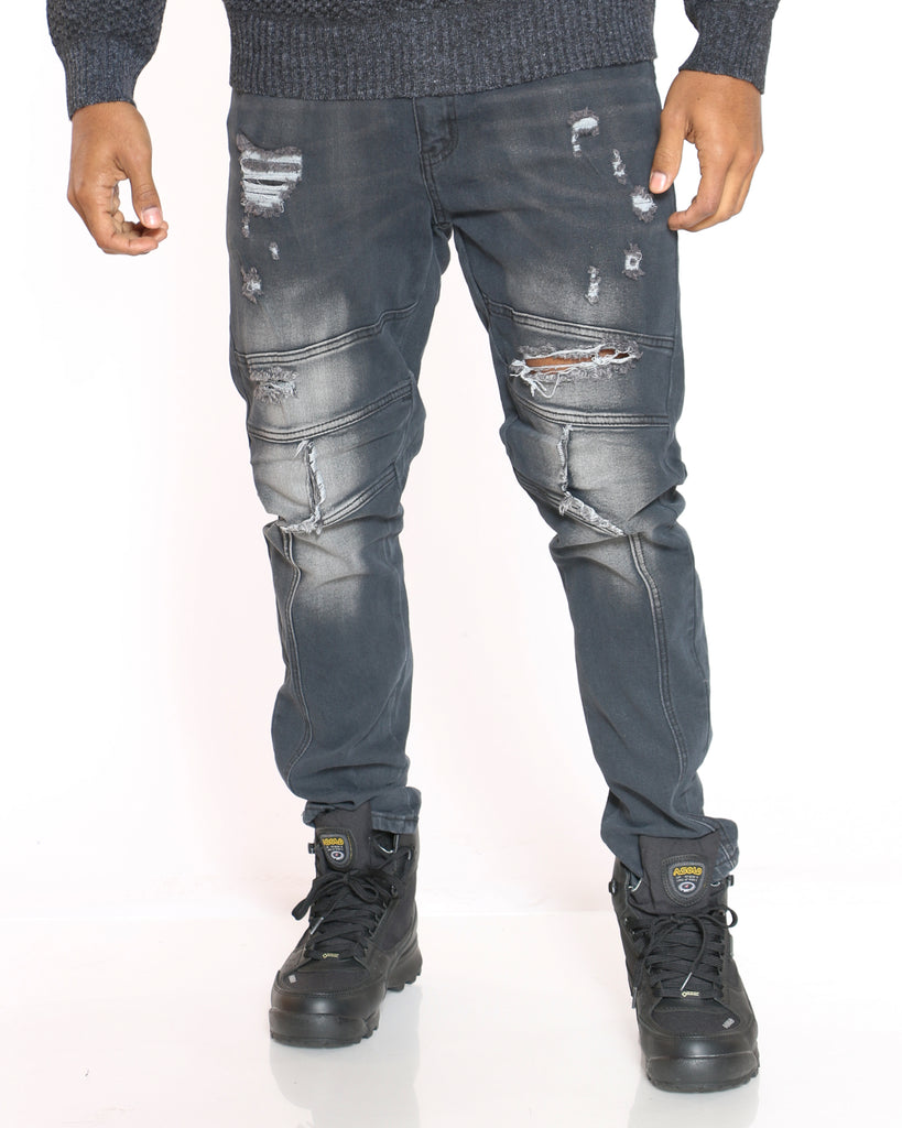 Ripped Cut & Sow Slim Fit Jean - Black