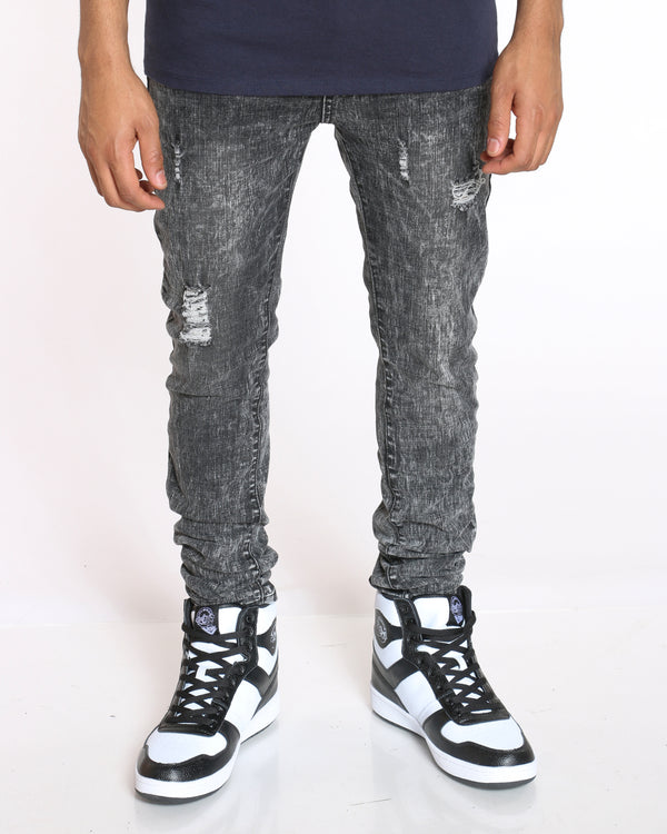 Men's Acid Look Light Ripped Jean - Grey-VIM.COM