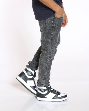 Men's Acid Look Light Ripped Jean - Grey