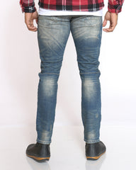 Richie Ripped Plaid Insert Jean - Alley Blue