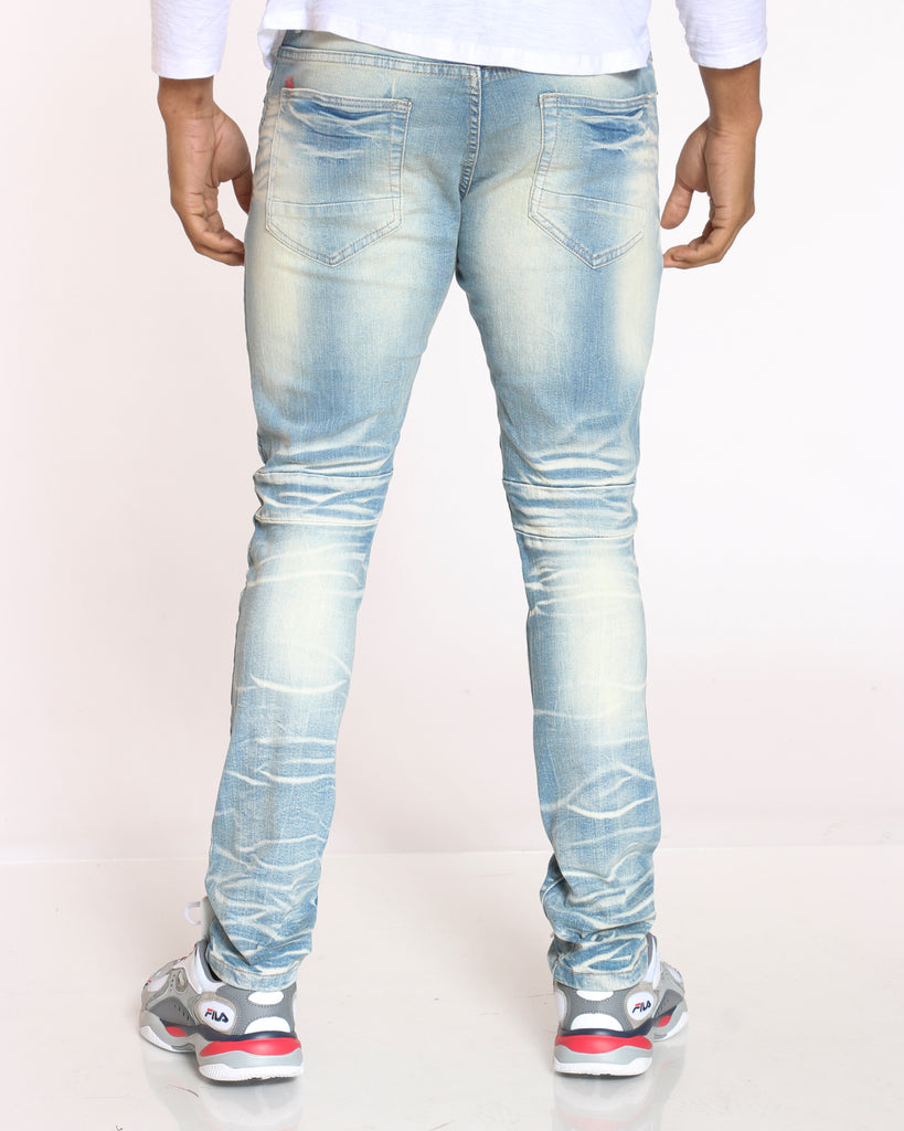 Ray Mud Ripped & Repair Jean - Light Blue