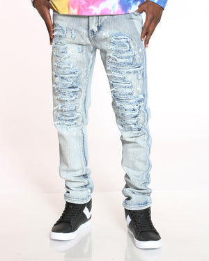Men's Ripped & Repair Acid Splatter Jean - Antique Bleach-VIM.COM