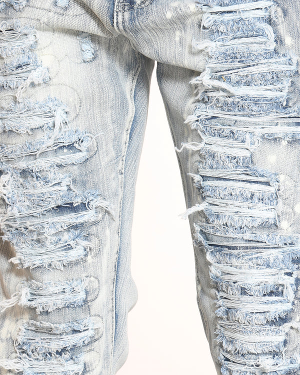 Men's Ripped & Repair Acid Splatter Jean - Antique Bleach