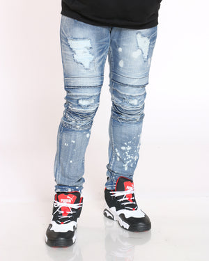 Men's Kirk Ripped & Knee Moto Jean - Light Bleach-VIM.COM