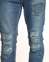 Mill Moto Patch & Knee Ripped Jean - Medium Blue
