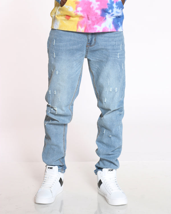 Men's Small Ripped Jean - Blue Grey-VIM.COM