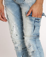Ian Ripped & Paint Splatter Jean - Smudge Blue