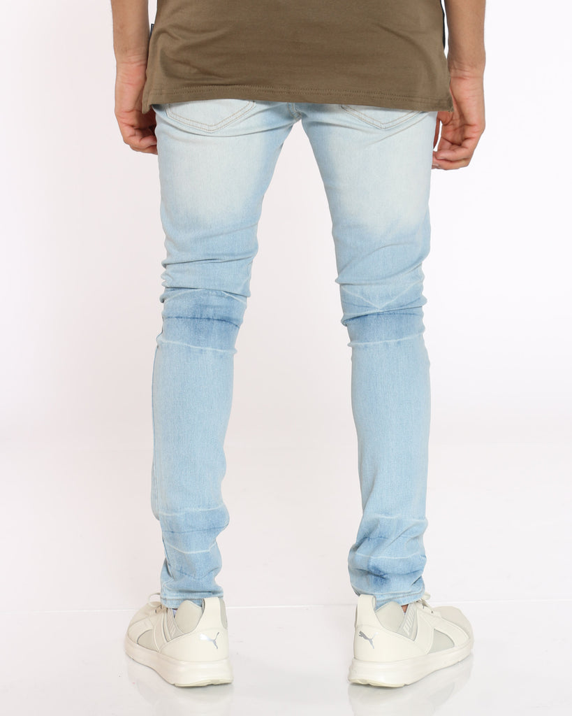 Shawn Ripped Crinkle Wash Jean - Ice Blue