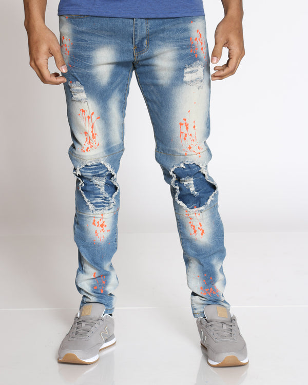 Men's Melvin Knee Rips Paint Splatter Jean - Rustic Blue