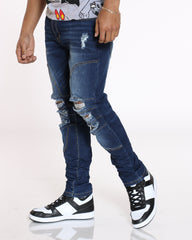 Knee Ripped Skinny Fit Jean - Indigo