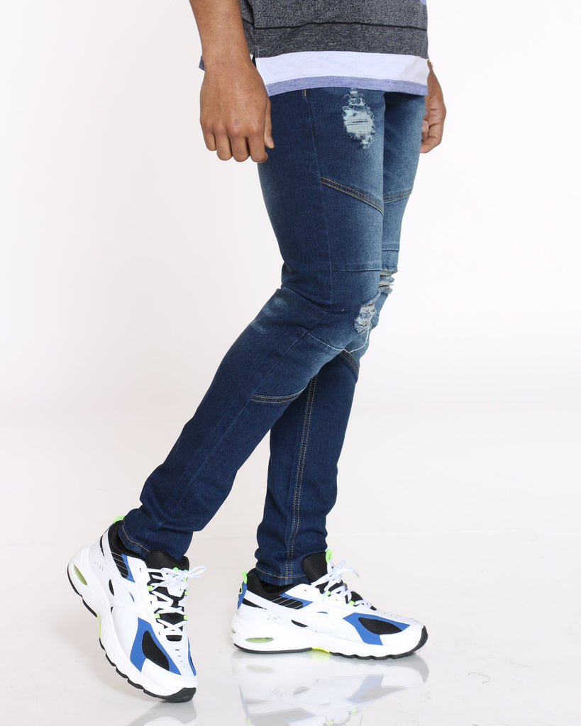 Phillip Knee Ripped Corregated Jean - Blue