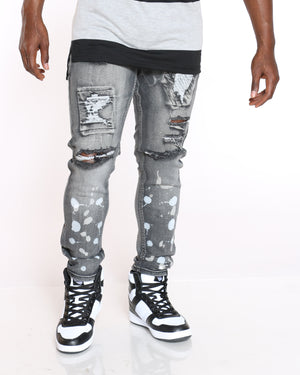 Men's Denver Ripped Paint Splatter Jean - Black-VIM.COM