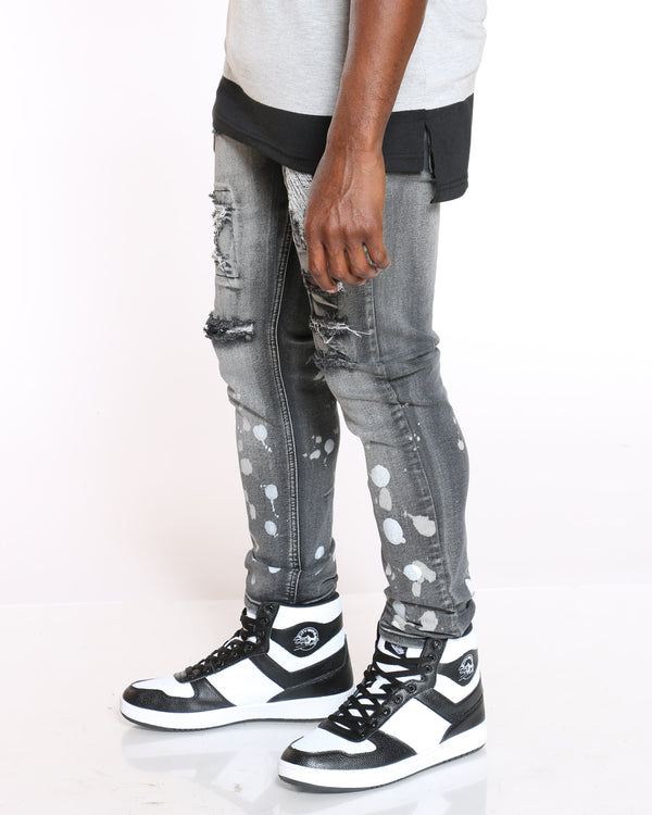 Men's Denver Ripped Paint Splatter Jean - Black