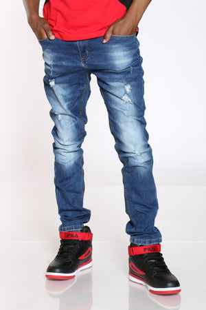Men's Crinkle Ripped Slim Straight Jean - Dark Blue-VIM.COM