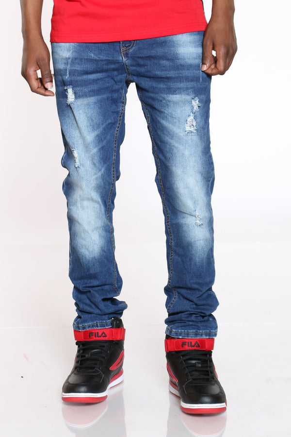 Men's Crinkle Ripped Slim Straight Jean - Dark Blue