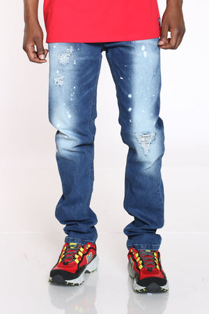 Men's Ripped & Paint Splatter Jean - Blue-VIM.COM