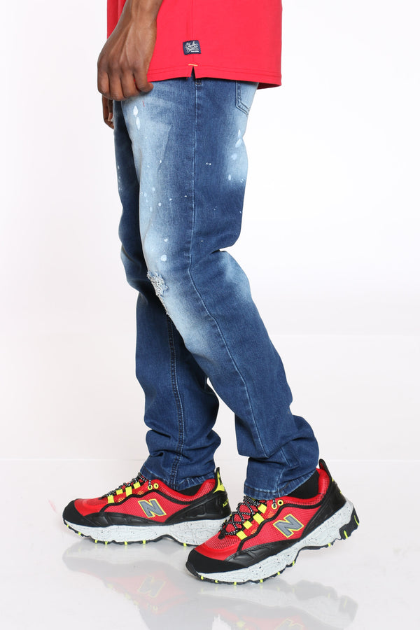 Men's Ripped & Paint Splatter Jean - Blue