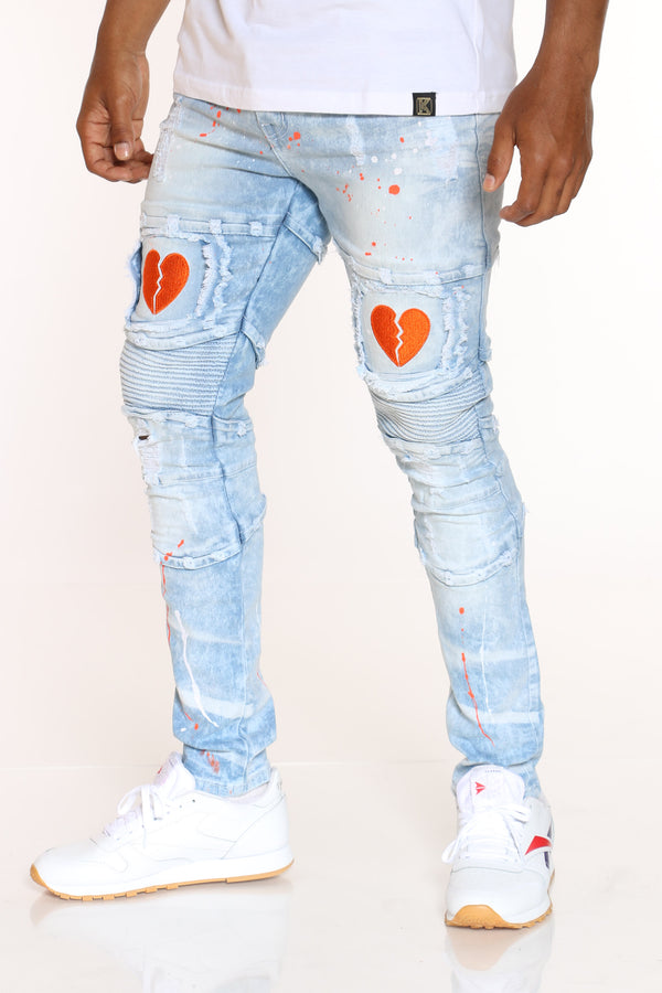 Men's Moto Paint Splatter Broken Heart Jean - Light Blue-VIM.COM
