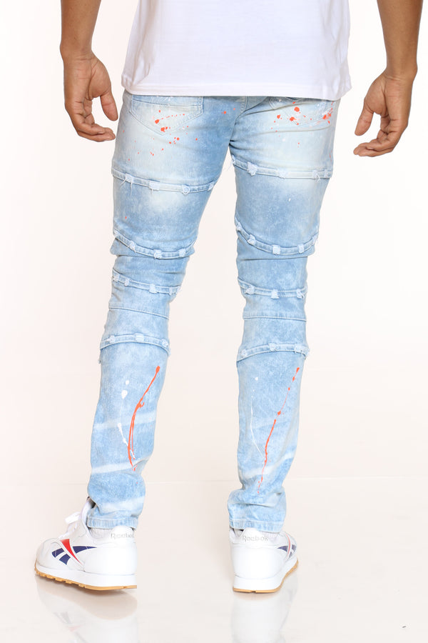 Men's Moto Paint Splatter Broken Heart Jean - Light Blue