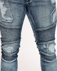 Moto Ripped & Repair Jean - Vintage Blue