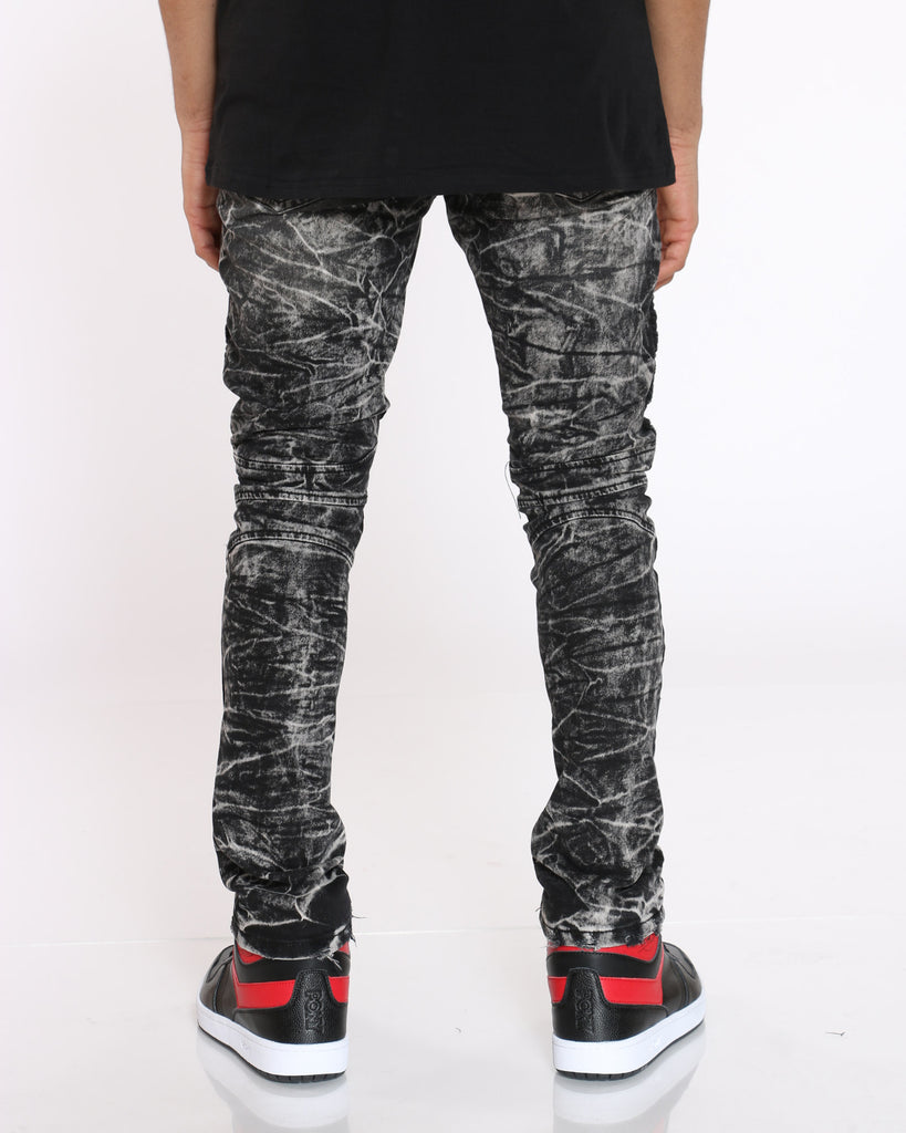 Wash Moto Ripped Jean - Black