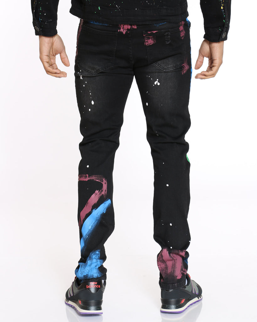 Jones Colorful Paint Splatter Jean - Black