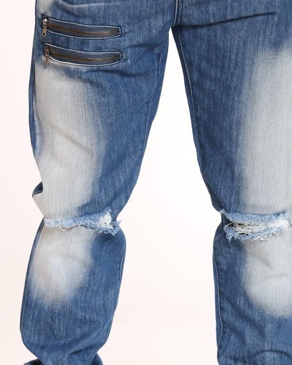 Men's Blasting Knee Ripped Jean - Blue