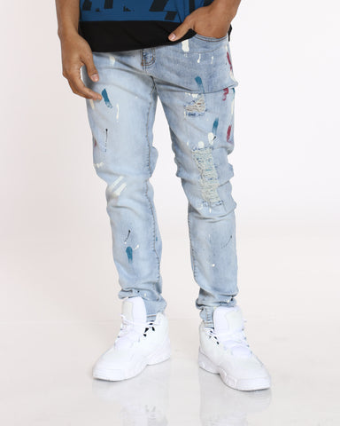 Men's Jimmy Rhinestone & Paint Splatter Jean - Blue-VIM.COM