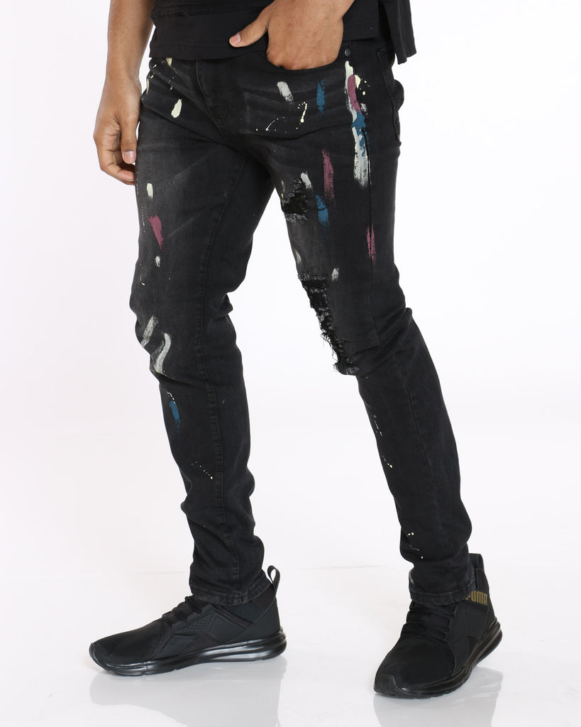 Jimmy Rhinestone & Paint Splatter Jean - Black