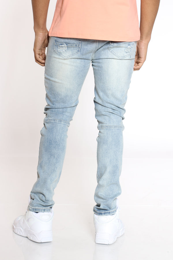 Men's Matt Side Moto & Ripped Jean - Light Blue