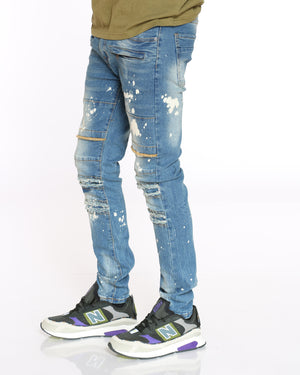 Men's Dan Knee Ripped Jean - Medium Blue