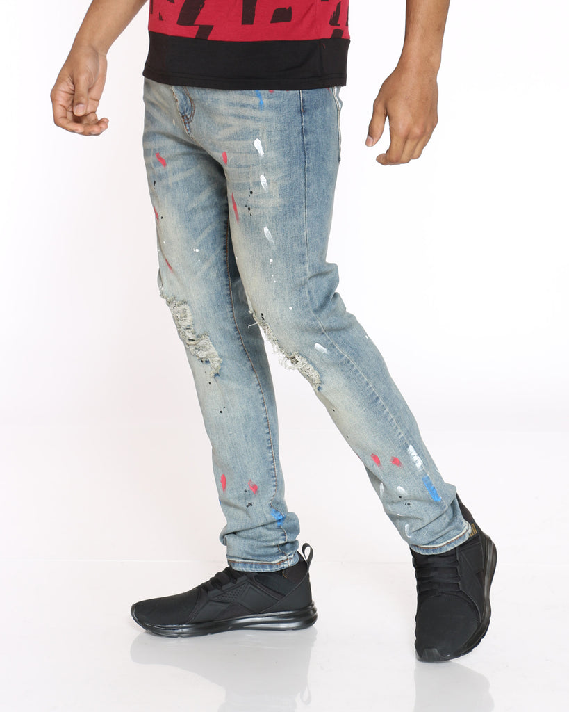 Conner Tint Paint & Ripped Jean - Stone