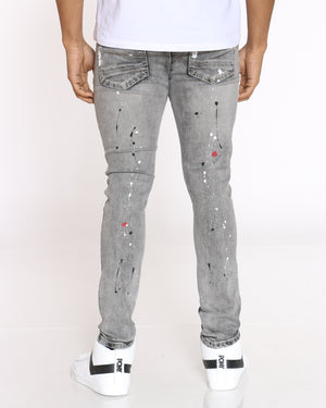 Men's Conner Tint Paint & Ripped Jean - Grey Acid