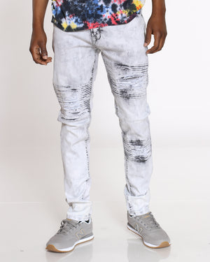 Men's Chevron Ripped & Moto Jean - Grey-VIM.COM