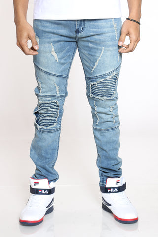 Men's Joe Moto & Patches Jean - Medium Blue-VIM.COM