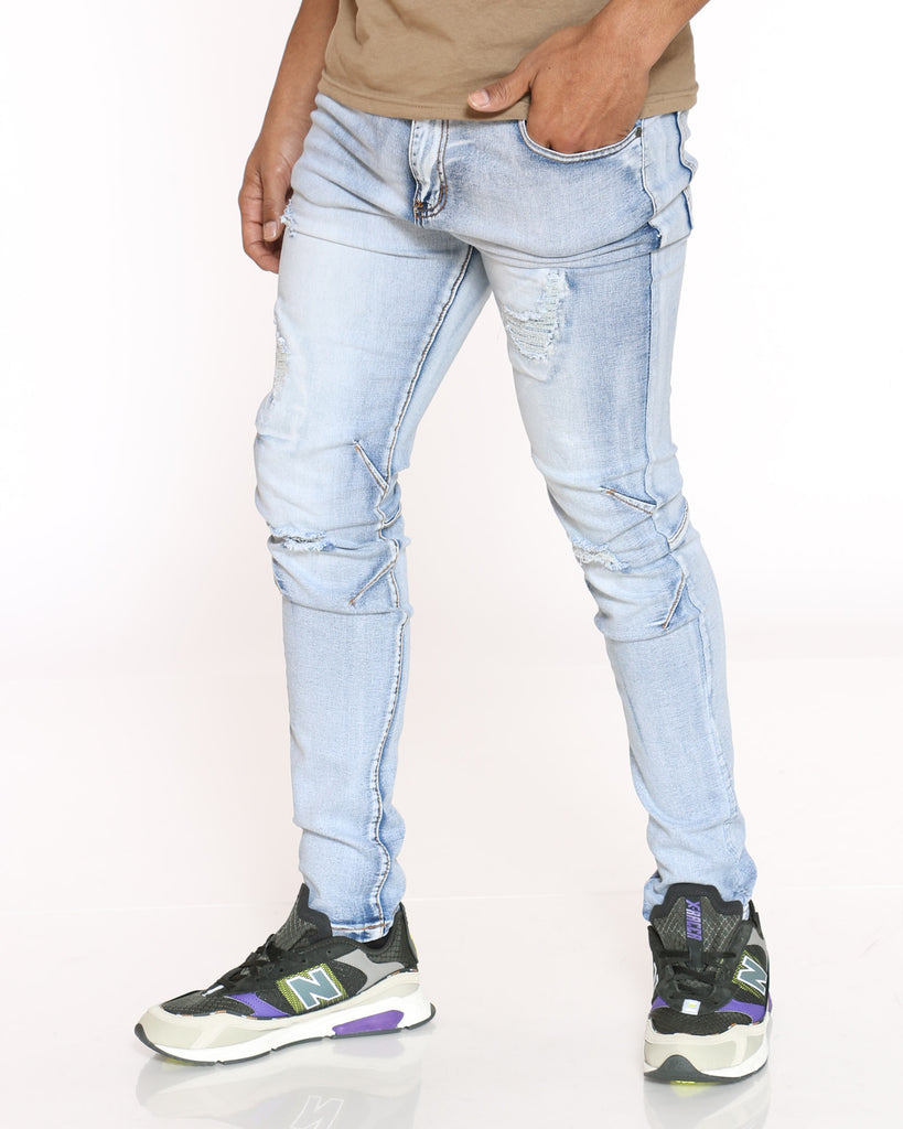 Zach Ripped Muffle Jean - Light Blue