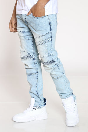 Men's Erick Ripped Moto Knee Jean - Cloud