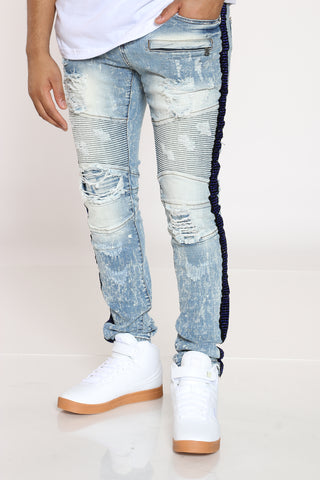 Men's Ripped & Rhinestone Side Taping Jean - Blue-VIM.COM
