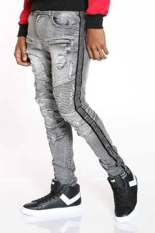 Men's Rhinestone Side Trim Moto Jean - Grey Black-VIM.COM