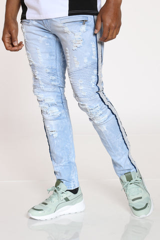 Men's Clear Rhinestone Jean - Light Blue-VIM.COM