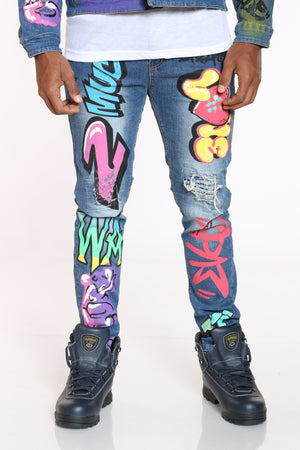 Men's Graffiti Skinny Jean - Blue-VIM.COM