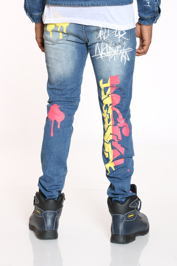 Men's Graffiti Skinny Jean - Blue