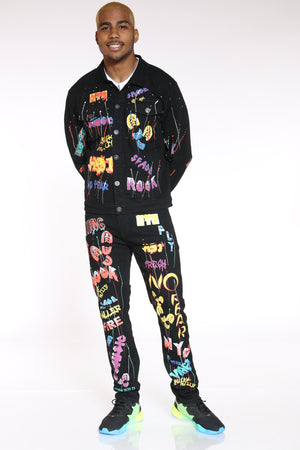 Nothing Can Stop Me Graffiti Skinny Fit Jean - Black