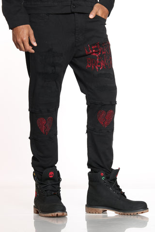 Men's Heart Breaker Rhinestone Jean - Black-VIM.COM