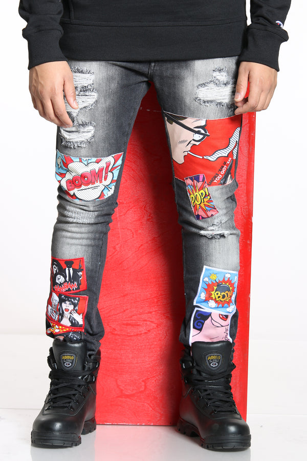 Men's Comic Book Patches & Ripped Jean - Black