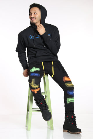 Men's Ripped Insert Shoestring Jean - Black Multi-VIM.COM